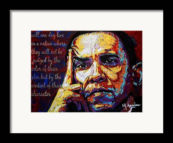 Barack Obama Framed Print featuring the painting Obama by Maria Arango