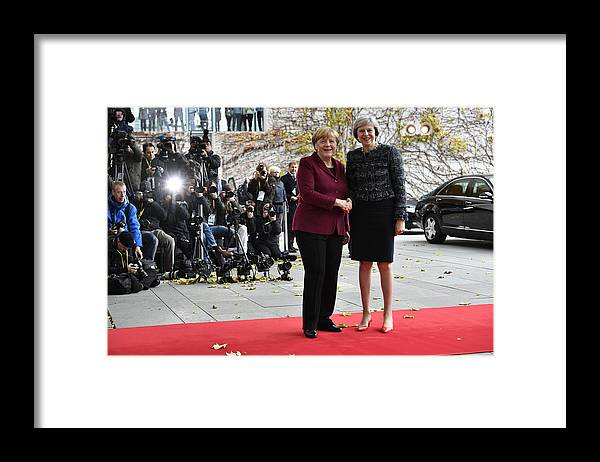 Theresa May Framed Print featuring the photograph Obama Meets With European Leaders In Berlin by Alexander Koerner