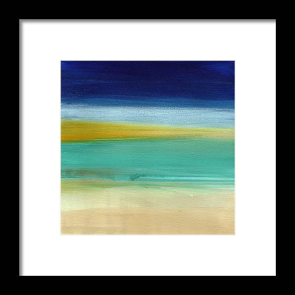 Abstract Framed Print featuring the painting Ocean Blue 3- Art by Linda Woods by Linda Woods