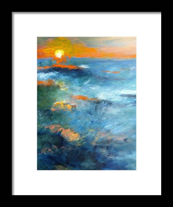 Ocean Framed Print featuring the painting Ocean by Jean Messner
