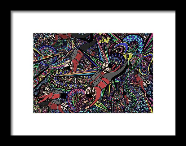 Scuba Framed Print featuring the painting Ocean Playground by Karen Elzinga