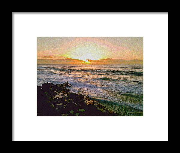 Ocean Beach Waves Sunset Pastel Water Rocks Joy Jolley Jolly Joli Photograph Cliff Framed Print featuring the digital art Ocean Sunset In San Diego by Joy Jolley