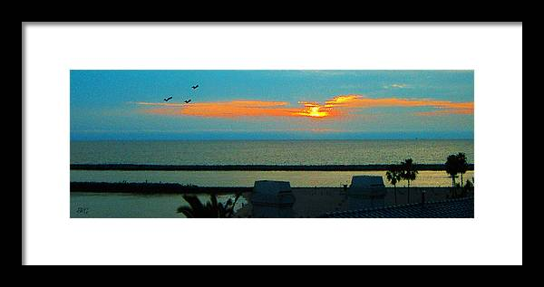 Sunset Framed Print featuring the photograph Ocean Sunset With Birds by Ben and Raisa Gertsberg