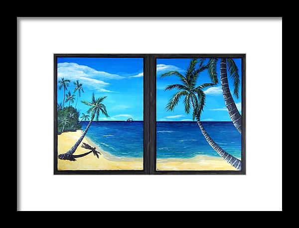 Palm Framed Print featuring the painting Ocean View by Anastasiya Malakhova