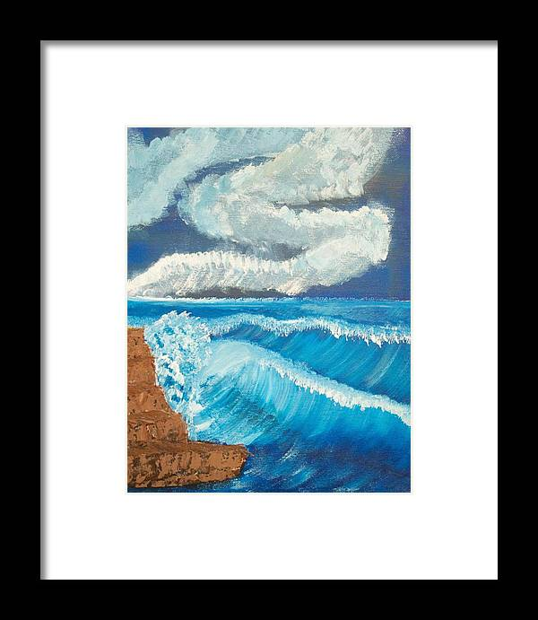 Ocean Framed Print featuring the painting Ocean Wave by Scott Ashworth