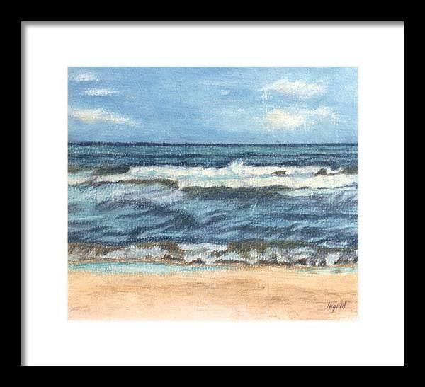 Ocean Framed Print featuring the painting Ocean Waves by Ingrid Torjesen