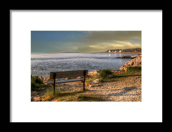 Bench Framed Print featuring the photograph Oceanside Bench by Brenda Giasson