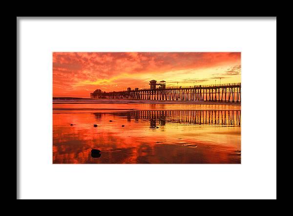 Oceanside Pier Framed Print featuring the photograph Oceanside Fire by Robert Aycock