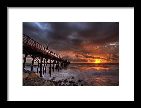 Sunset Framed Print featuring the photograph Oceanside Pier Perfect Sunset by Peter Tellone