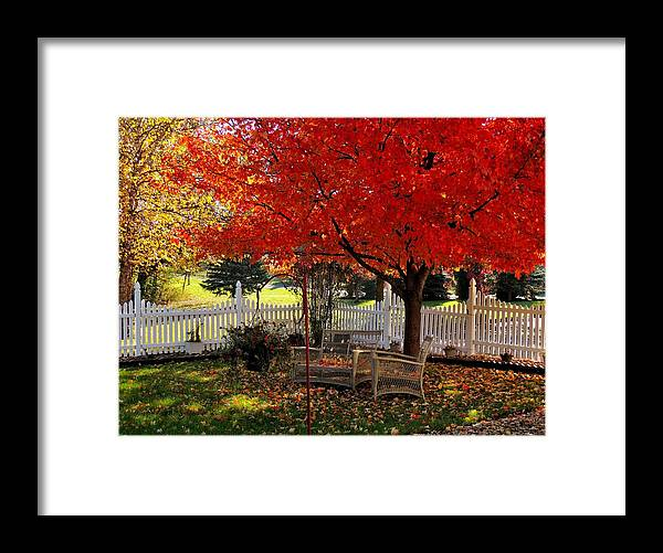 Red Framed Print featuring the photograph October Colors by Nancy Wagener