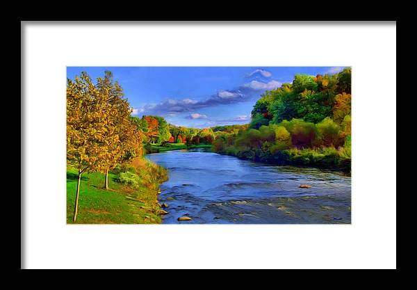 Landscape Framed Print featuring the painting October On The Cuyahoga by Dennis Lundell
