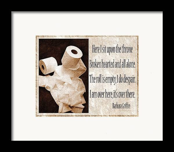 Bathroom Framed Print featuring the photograph Ode To The Spare Roll Sepia 2 by Andee Design