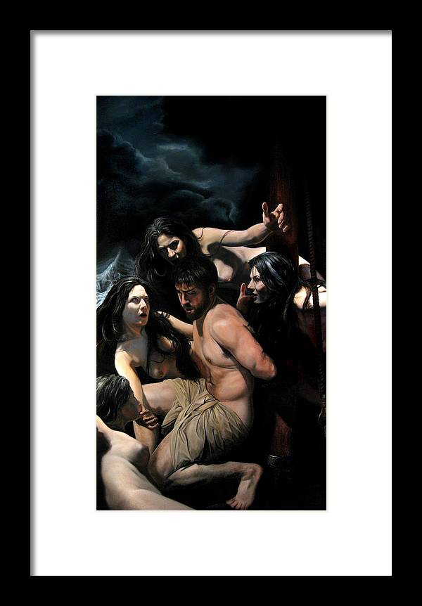 Figurative Art Framed Print featuring the painting Odysseus And The Sirens by Eric Armusik