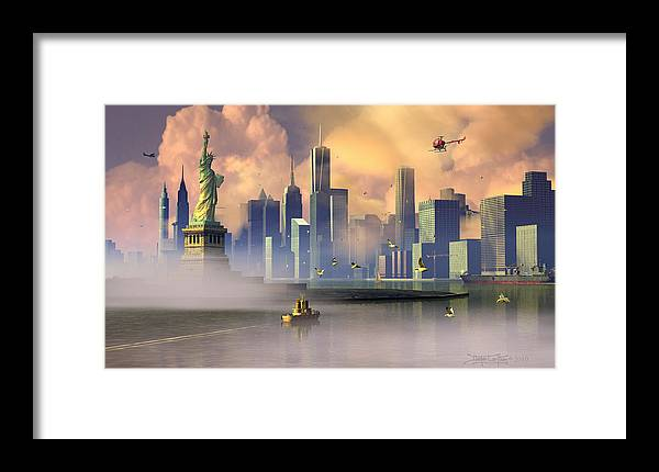 Statue Of Liberty Framed Print featuring the digital art Of Stone And Steel by Dieter Carlton