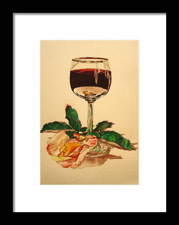 Still Life Framed Print featuring the painting Of Wine And Roses by Sandra Stone