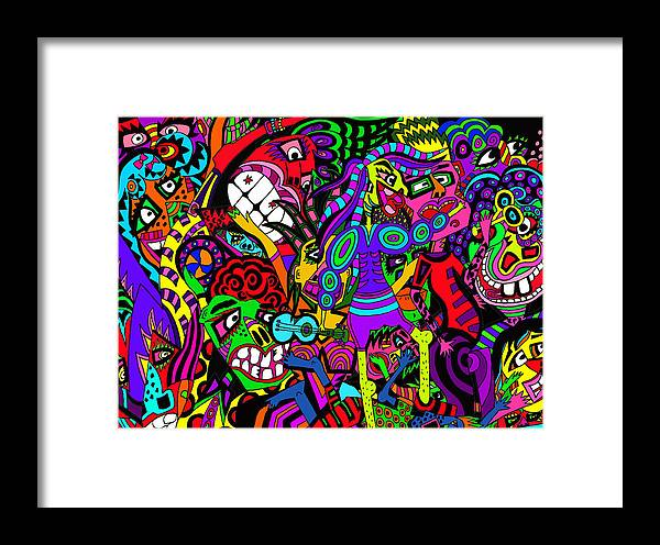 Crowds Framed Print featuring the painting Off To The Concert by Karen Elzinga