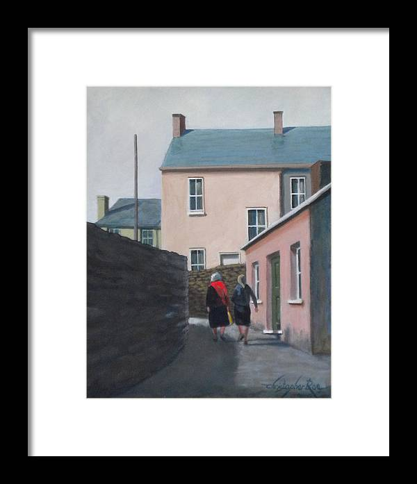 Landscape Framed Print featuring the painting Off To The Shops by Christopher Roe