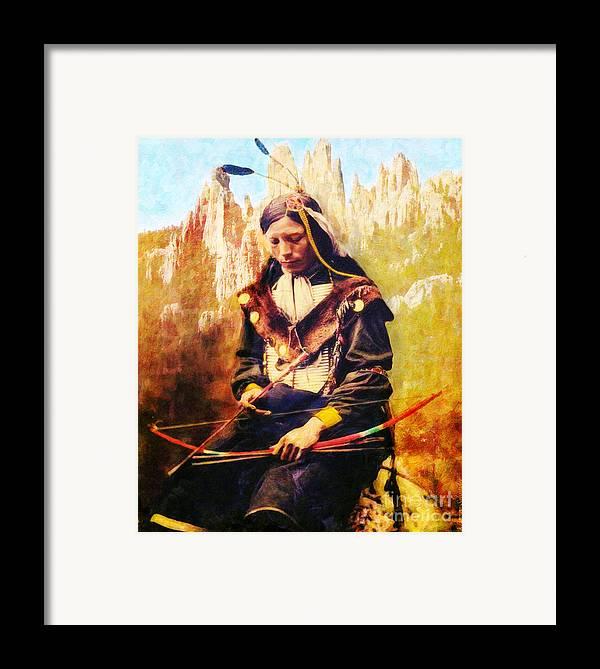 Native American Framed Print featuring the digital art Oglala Homeland by Lianne Schneider