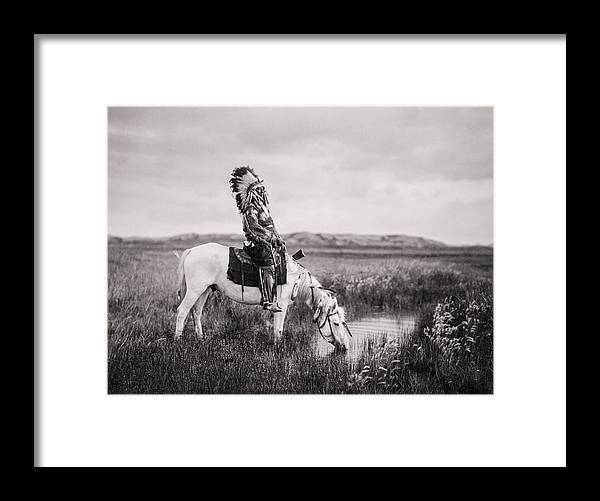 1905 Framed Print featuring the photograph Oglala Indian Man circa 1905 by Aged Pixel