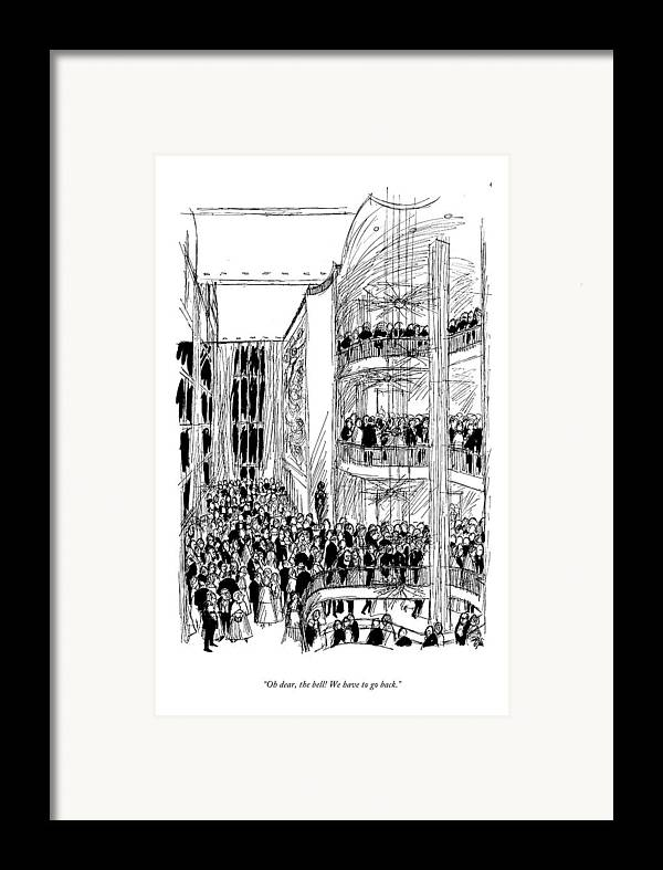 Entertainment Framed Print featuring the drawing Oh Dear, The Bell! We Have To Go Back by Everett Opie