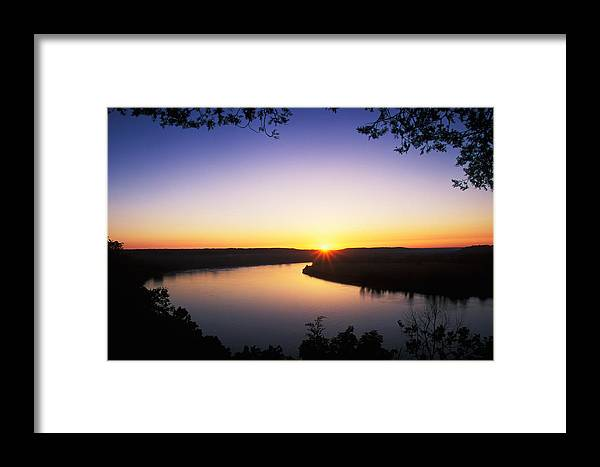 Background Framed Print featuring the photograph Ohio River At Sunrise by David Davis