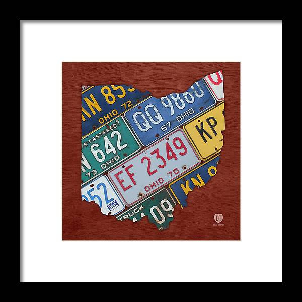 Ohio State Map Made Using Vintage License Plates Framed Print on map white on white art, map made of buttons, map of united states license, map made of tools, map made of paper, map made of flowers, map wall decor metal art, map made of books,