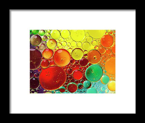 Full Frame Framed Print featuring the photograph Oil Bubbles In Water by Ramoncovelo