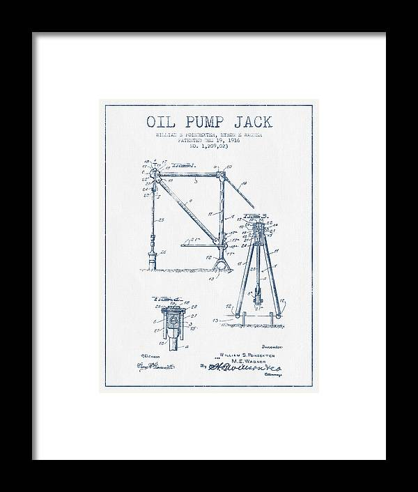 oil pump jack patent drawing from 1916 - blue ink framed print by aged pixel