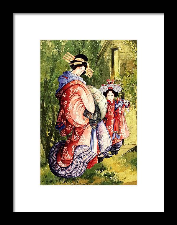 Altered Art Framed Print featuring the digital art Oiran And Kamurox by Katsushika Hokusai