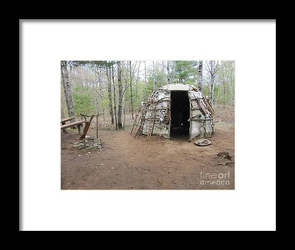 Ojibwe Framed Print featuring the photograph Ojibwe Weapons Wigwam by Terry Hunt