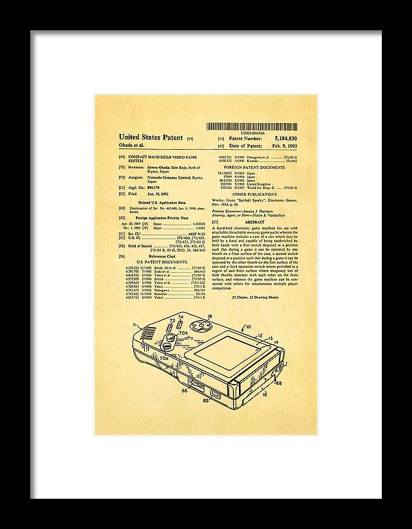 Famous Framed Print featuring the photograph Okada Nintendo Gameboy Patent Art 1993 by Ian Monk