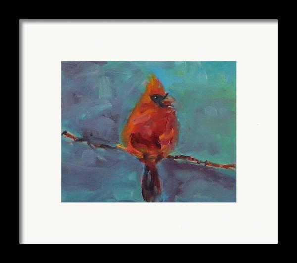Bird Framed Print featuring the painting Oklahoma Cardinal by Susie Jernigan