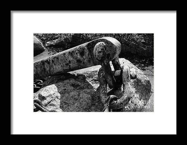 Anchor Framed Print featuring the photograph Old Anchor Chain by John Mitchell