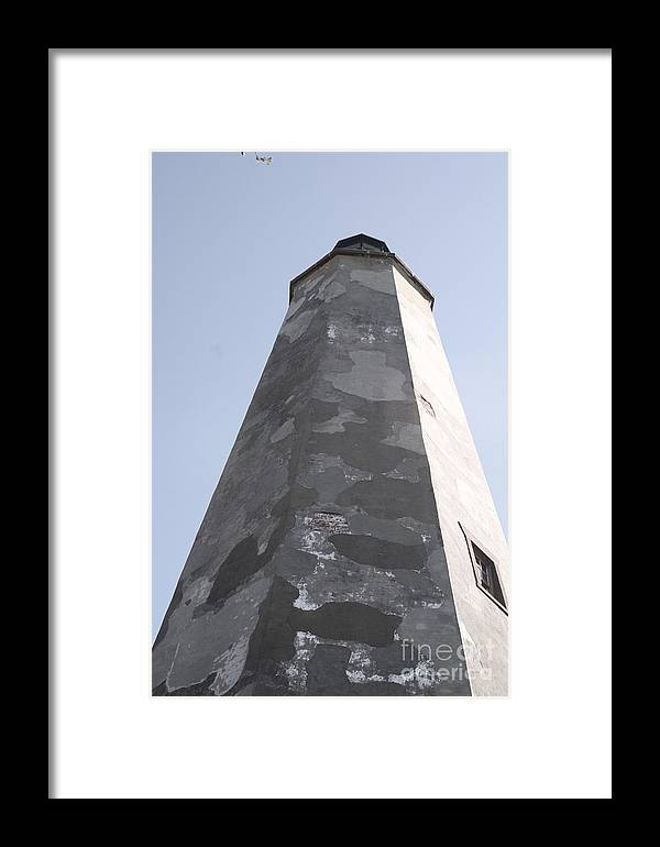Lighthouse Framed Print featuring the photograph Old Baldy Lighthouse Nc by Nadine Rippelmeyer