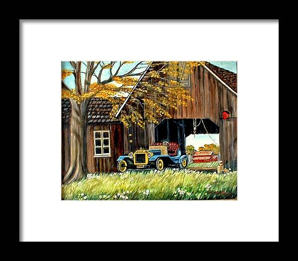 Old Barn Car Framed Print featuring the painting Old Barn And Old Car by Kenneth LePoidevin