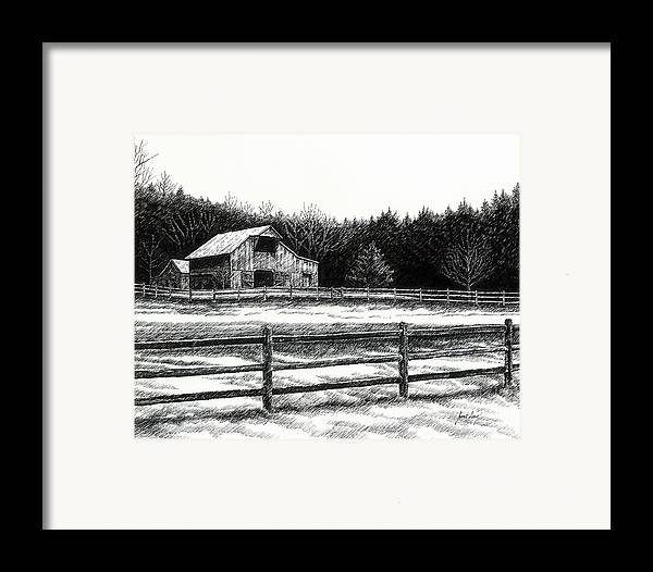 Old Barn Framed Print featuring the drawing Old Barn In Franklin Tennessee by Janet King