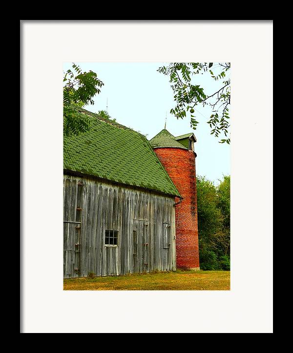 Old Barns Framed Print featuring the photograph Old Barn With Brick Silo II by Julie Dant