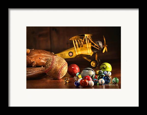 Aged Framed Print featuring the photograph Old Baseball And Glove With Antique Toys by Sandra Cunningham