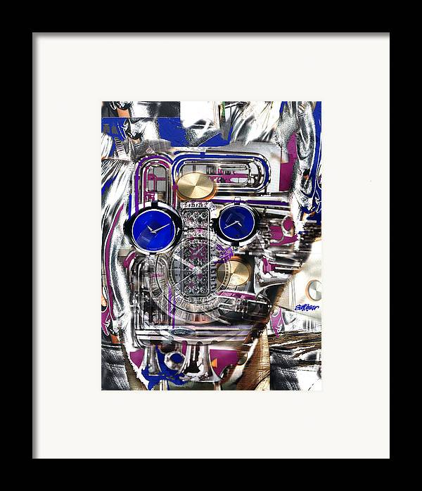 Robotic Time Traveller Framed Print featuring the digital art Old Blue Eyes by Seth Weaver