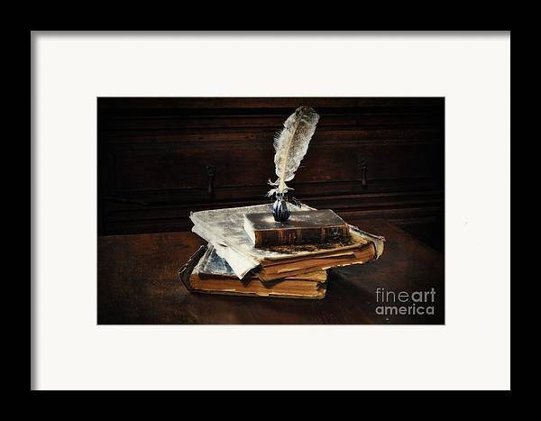 Old Books And A Quill Framed Print featuring the photograph Old Books And A Quill by Mary Machare