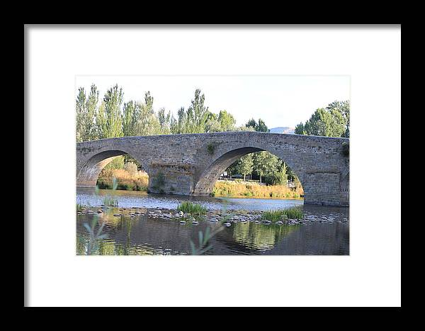 Bridge Framed Print featuring the photograph Old Bridge Over Tormes River by Noemi Gomez