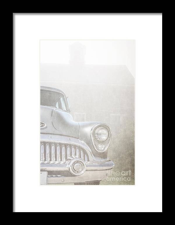 Foggy Framed Print featuring the photograph Old Buick Out By The Barn by Edward Fielding