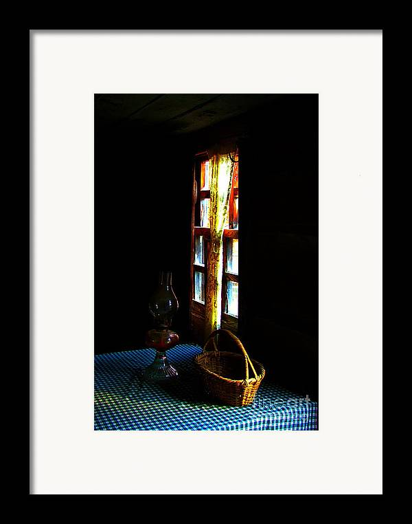 Cabin Framed Print featuring the photograph Old Cabin Table With Lamp And Basket by Julie Dant