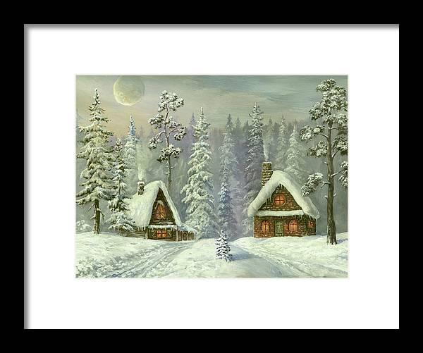 Art Framed Print featuring the digital art Old Christmas Card by Pobytov