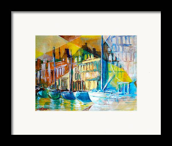 Old World Street Framed Print featuring the painting Old Copenhagen Thru Stained Glass by Seth Weaver