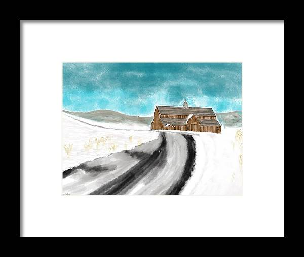 Landscape Framed Print featuring the digital art Old Dairy Barn by Don Ackley