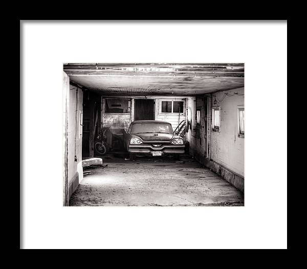Auto Framed Print featuring the photograph Old Dodge Car In Garage by Steve G Bisig