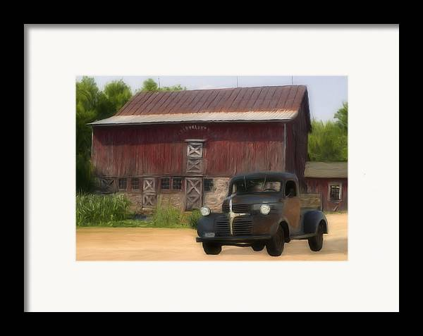 Old Framed Print featuring the painting Old Dodge Truck by Jack Zulli