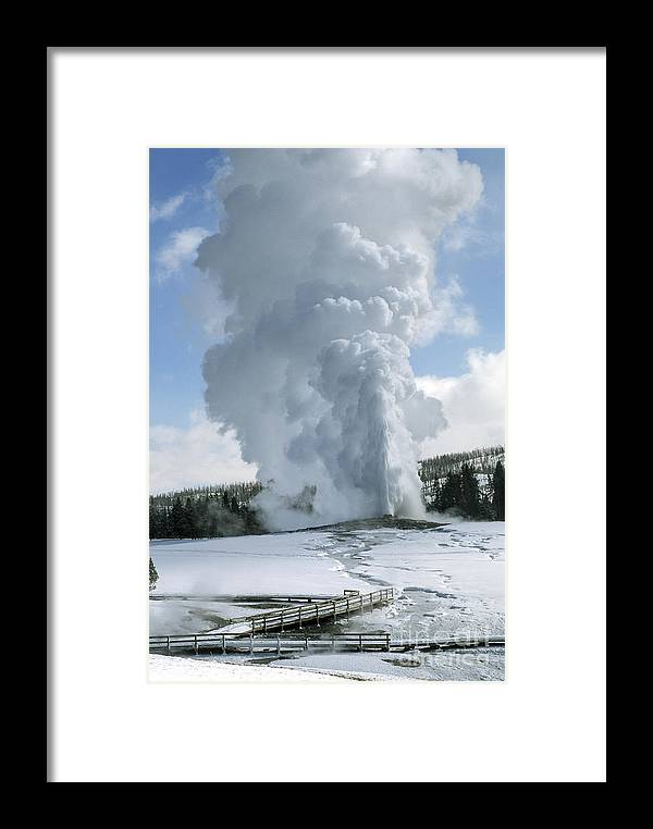 Yellowstone Framed Print featuring the photograph Old Faithful In Her Glory - Yellowstone by Sandra Bronstein