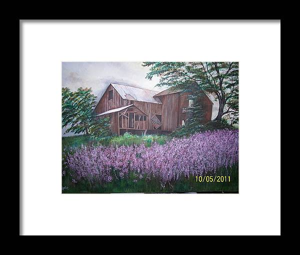 Lanscape Framed Print featuring the painting Old Farm house by Jim Reale